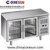 不锈钢风冷双门玻璃门冷藏保鲜商用平台柜|GN2100TNG