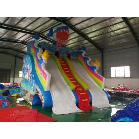 夏季游乐园儿童戏水充气水滑梯 水上滑梯鲨鱼充气水上滑梯