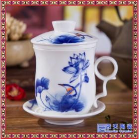 陶瓷办公杯景德镇大号水杯子大码马克杯青花瓷器1000毫升