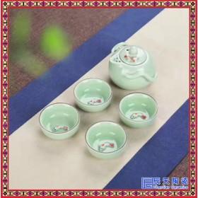 景德镇青花瓷快客杯 陶瓷收纳便携式带包旅行办公茶具