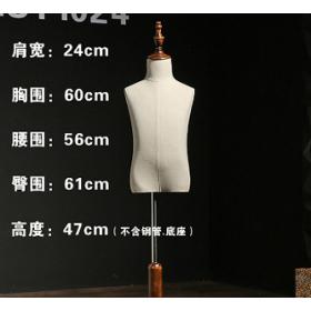 服装店儿童模特玻璃钢包布模特道具亚麻布实木底座儿童人台厂家